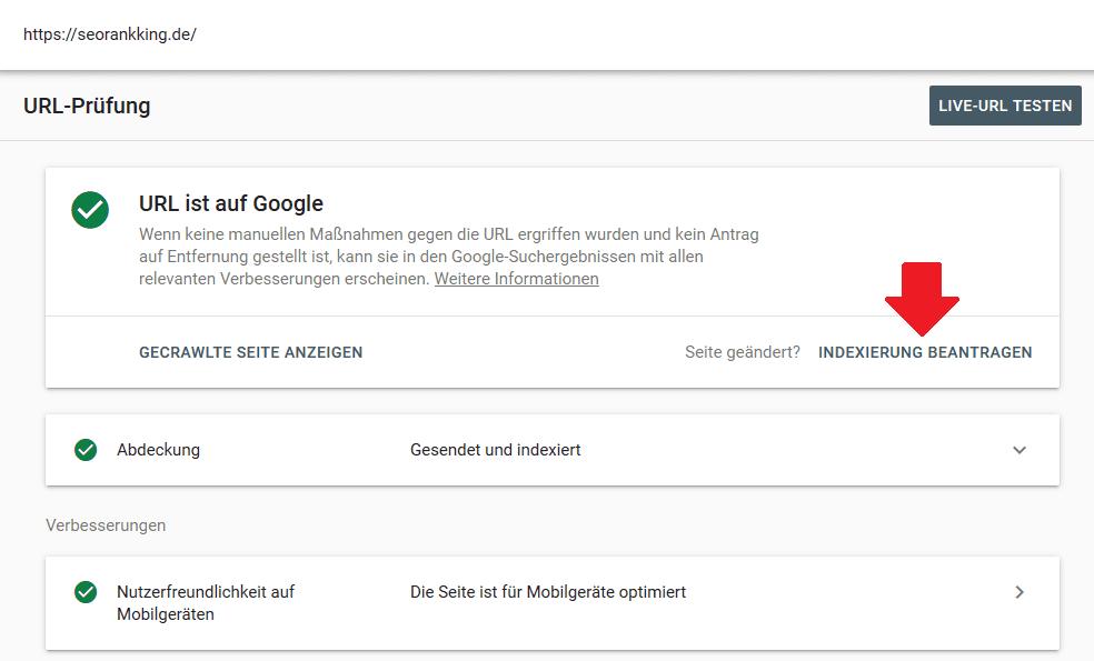 URL-Prüfung_Indexierung beantragen_Google Search Console