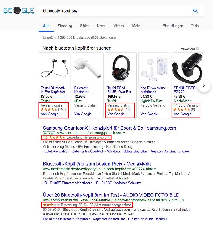 google schema markup sterne bewertungen