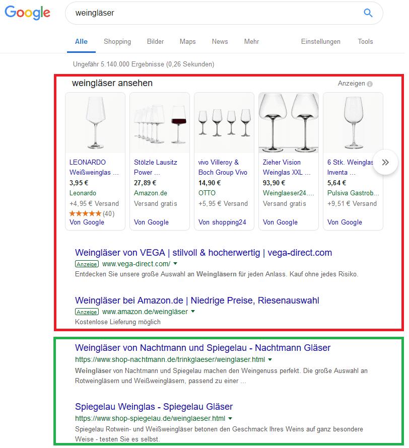 SEO vs. SEA Anzeigen Google