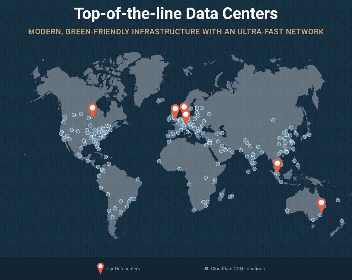 SiteGround Datenzentren auf 3 Kontinenten