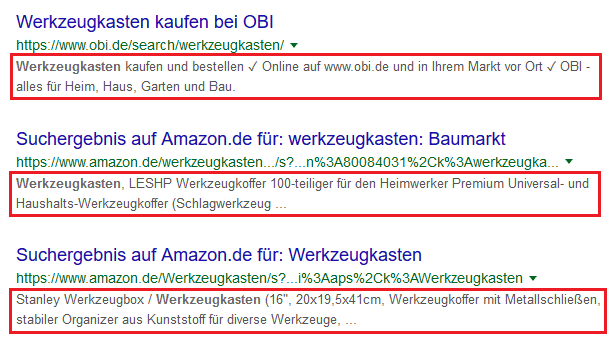 Google Suche Meta Description Werkzeugkasten