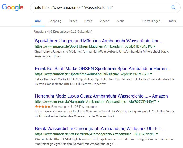 site befehl google beispiel keyword