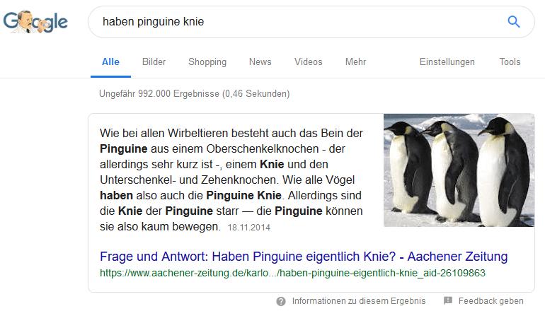 Google-Suche Featured Snippet haben fragen