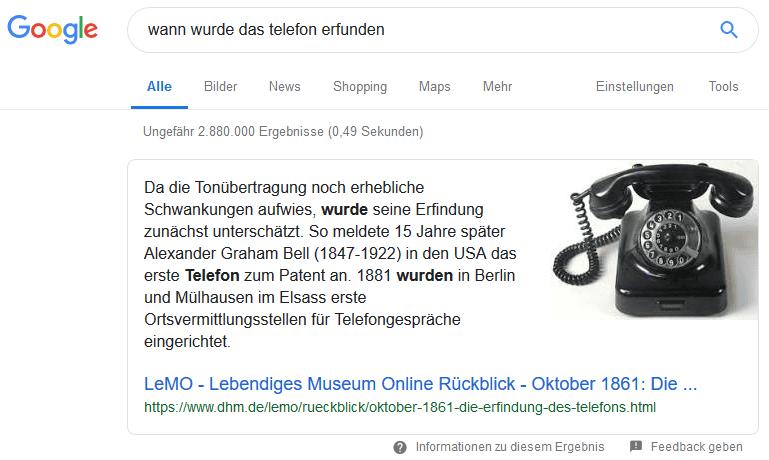 Google-Suche featured snippet fragen-keywords