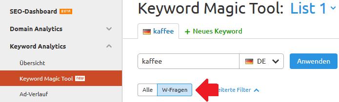 Keyword Magic Tool W-Fragen