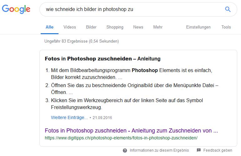 google featured snippet tutorial anleitung beispiel