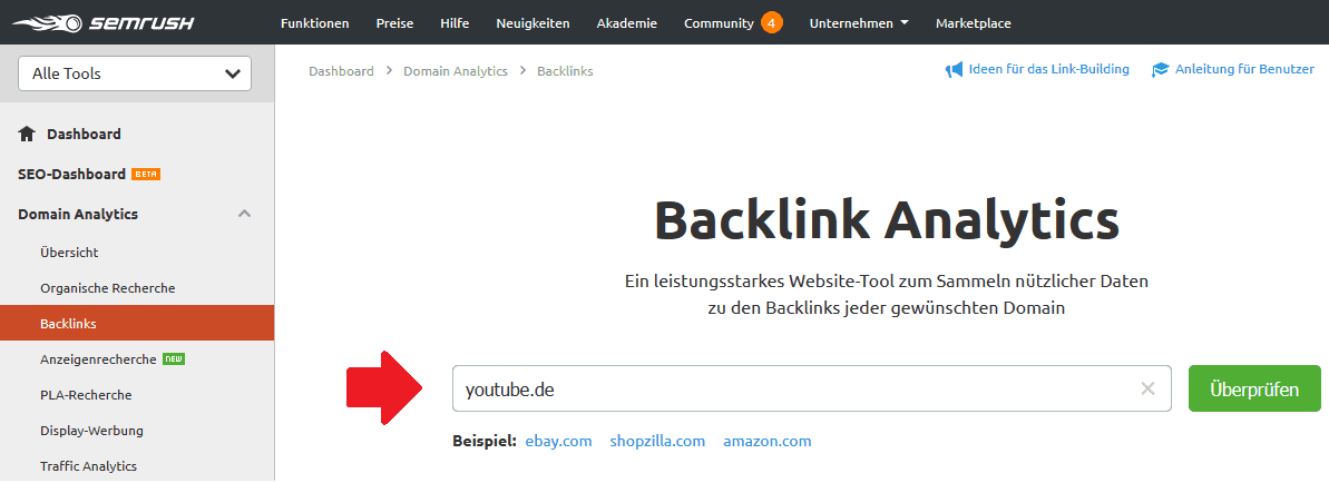 backlink analytics semrush
