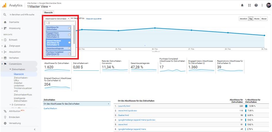 Conversions filtern Google Analytics Berichte