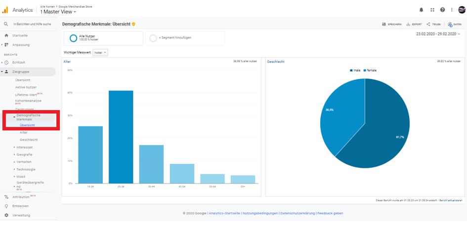 Demografische Merkmale Google Analytics
