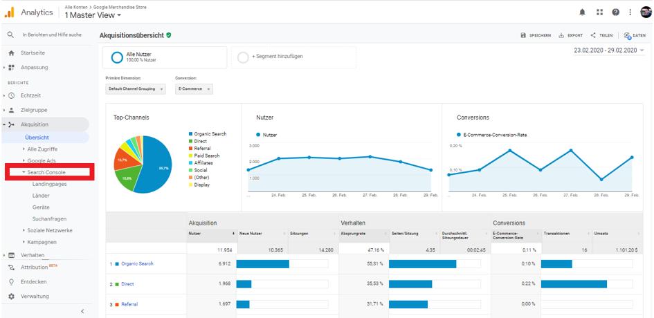 Search Console Google Analytics