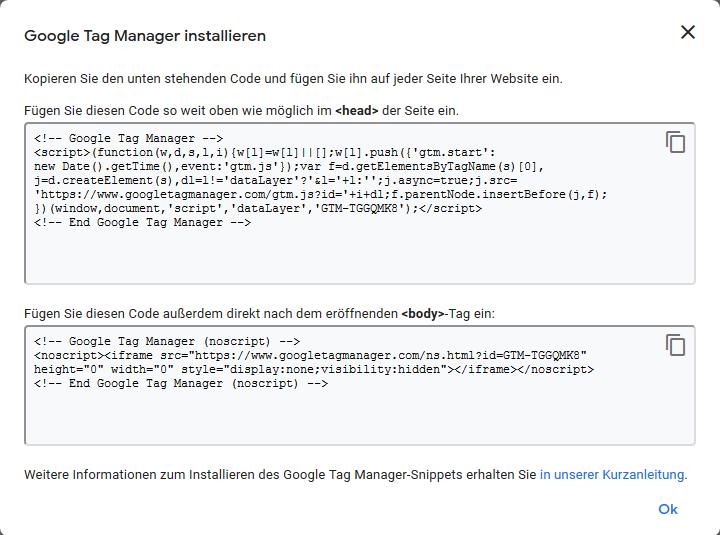 Beispiel Code Google Tag Manager