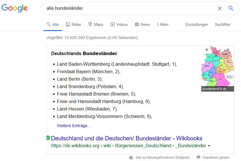 Google-Suche Beispiel Liste der Bundesländer