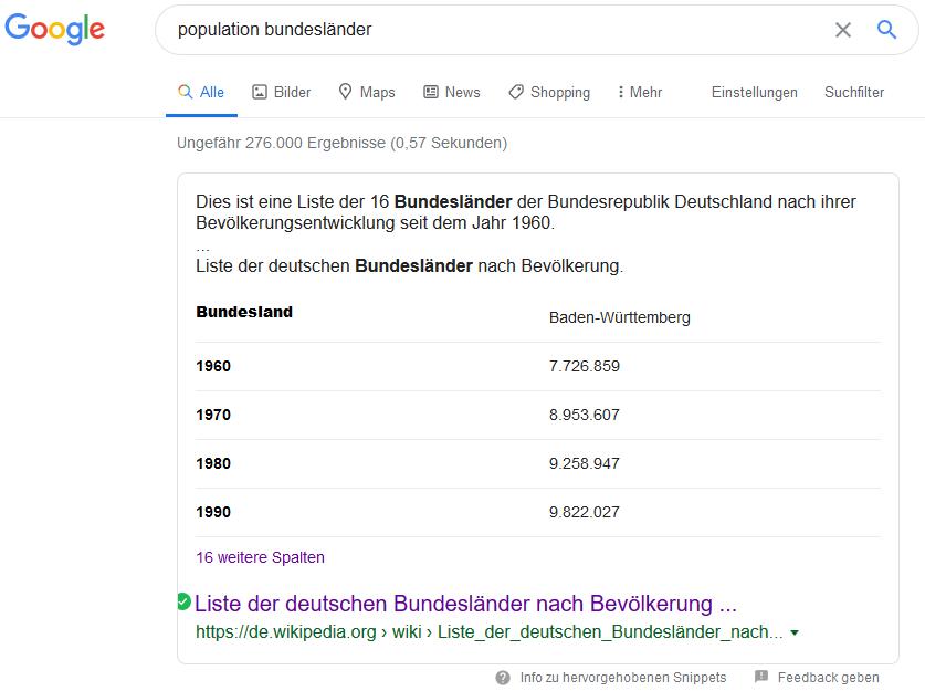 Google-Suche Beispiel Tabelle Population Bundesländer