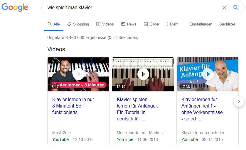 Google-Suche Beispiel Videoergebnisse Klavier lernen