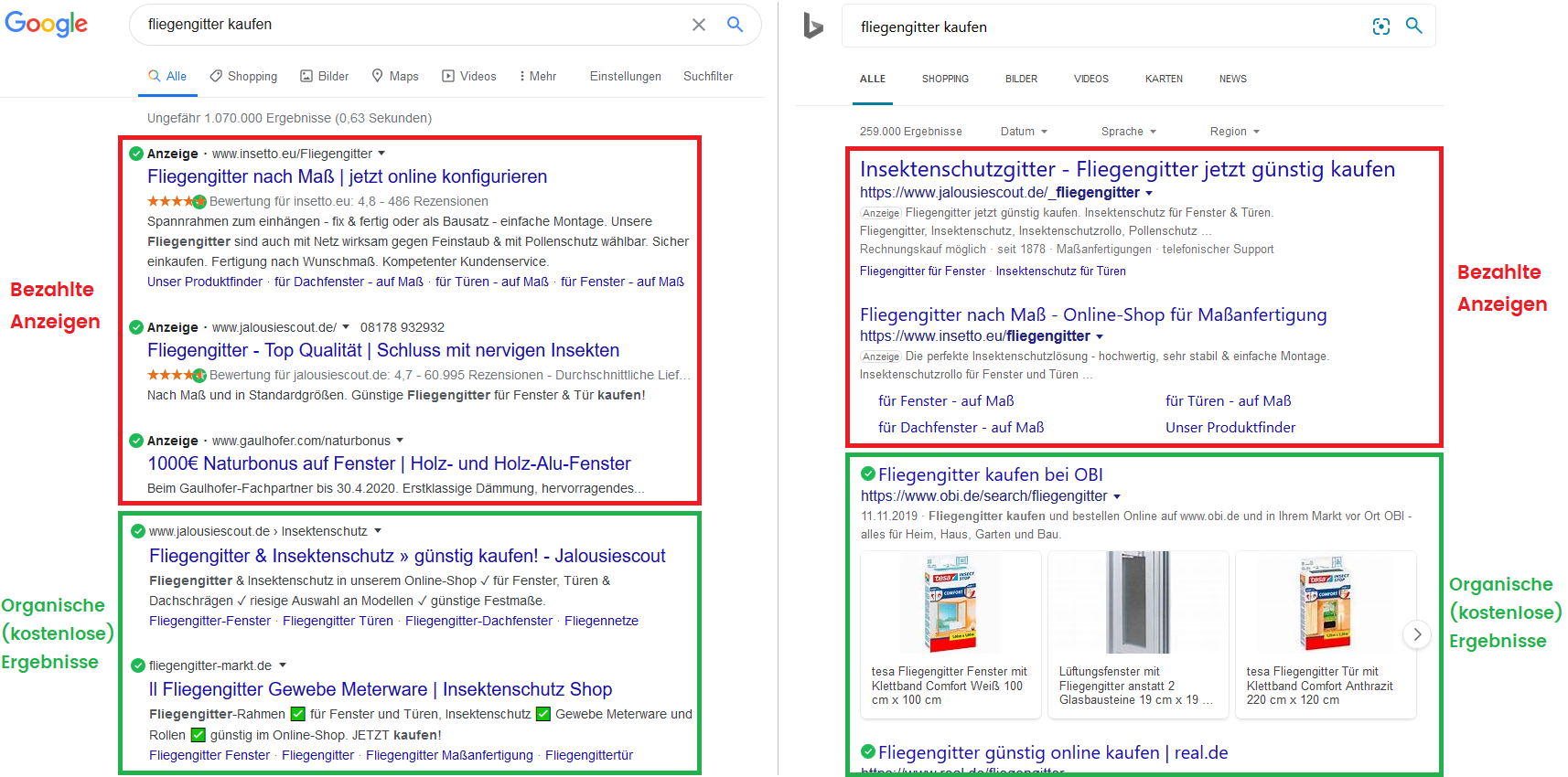 Goolge, Bing - Organische Ergebnisse vs. bezahlte Anzeigen