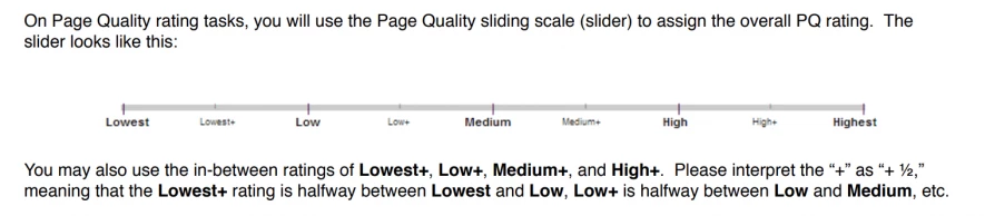 Quality Rating Scale Google