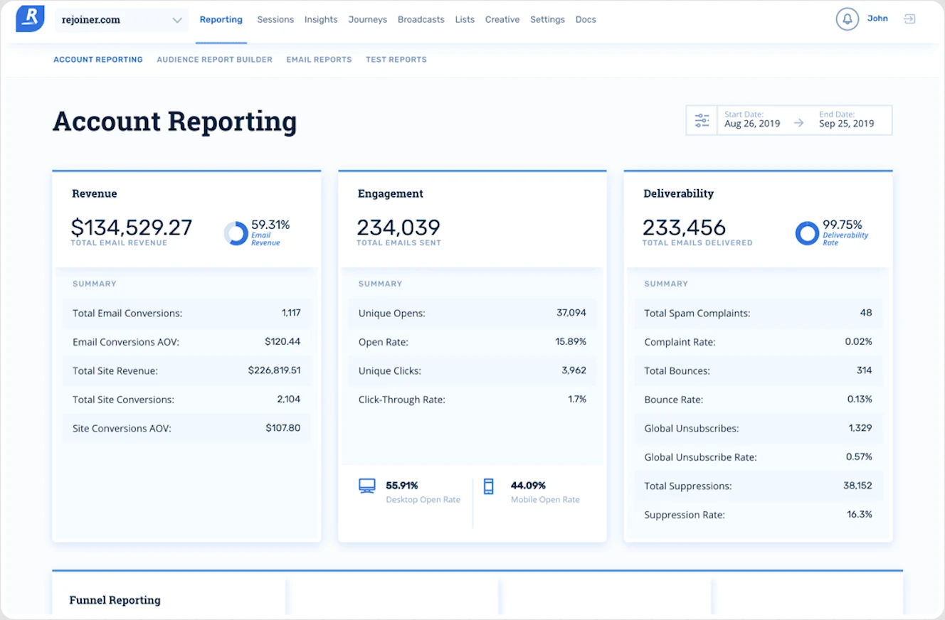 Rejoiner Reporting Analytics