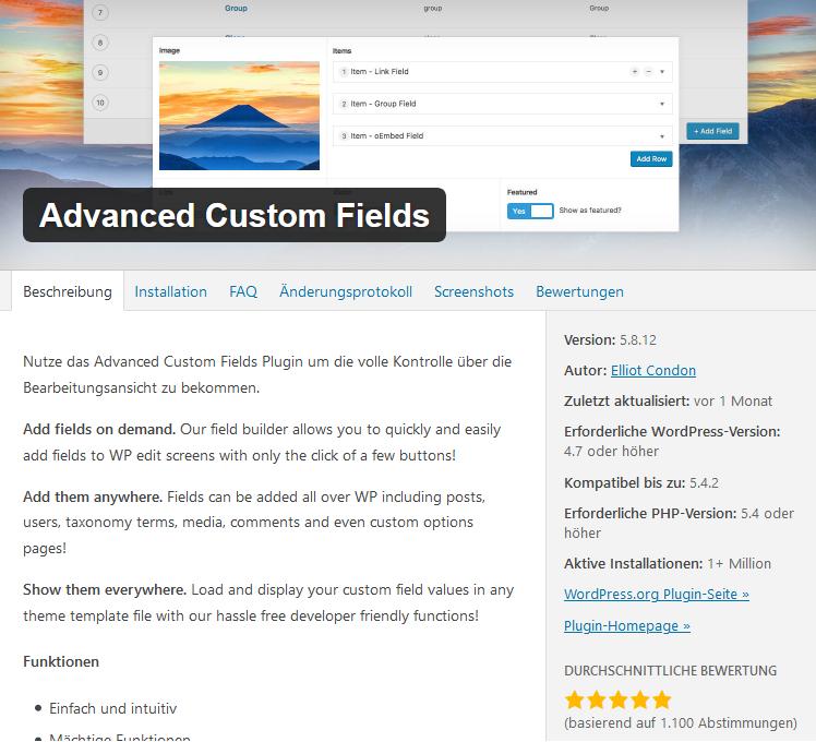 Advanced Custom Fields WordPress-Plugin
