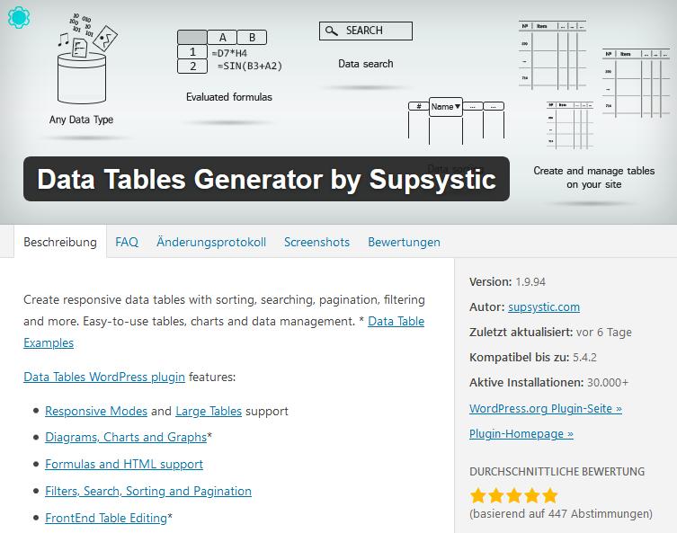 Data Tables Generator by Subsystic WordPress Plugin Tabellen