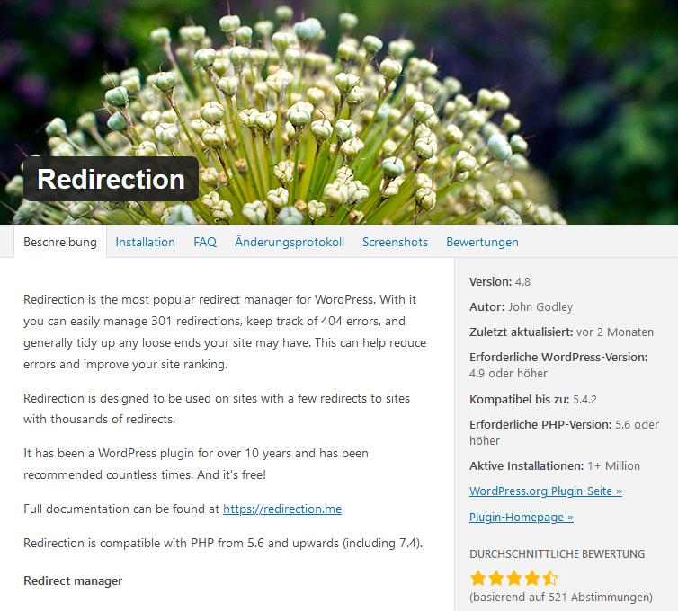 Redirection WordPress Plugin Weiterleitungen