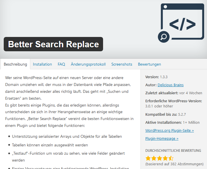 Better Search Replace WordPress-Plugin