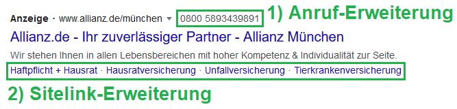 Anruf- und Sitelink-Erweiterung Google Anzeige